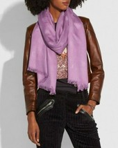 COACH Tea Rose Jacquard Oblong Scarf 23830, Primrose Lavender Purple - $94.05