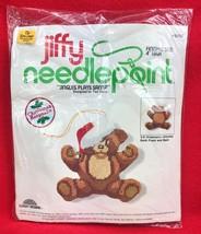 Jiffy Needlepoint Christmas Ornament JINGLES PLAYS SANTA Teddy Bear #5002 - $27.72