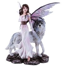 Purple Winged Fairy with Lone Wolf 10.5 Inch Collectible Figurine - £38.36 GBP