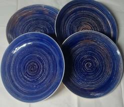 "Set of Four (4) ~ Mainstays ~ 10.5"" Dia ~ Blue Swirl Stoneware Dinner Pl... - $59.40"