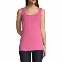 St. John's Bay Women's Scoop Neck Tank Top Size Small Pink Mambo 100% Cotton  - $11.87
