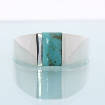 American Blue Green Turquoise Hand Crafted Sterling Silver Gents Ring size 9.5 - £72.17 GBP
