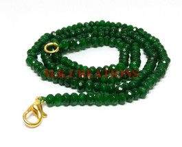 "Dyed Green Jade Gemstone 3-4mm Rondelle Faceted Beads 18"" Long Beaded Ne... - $17.07"