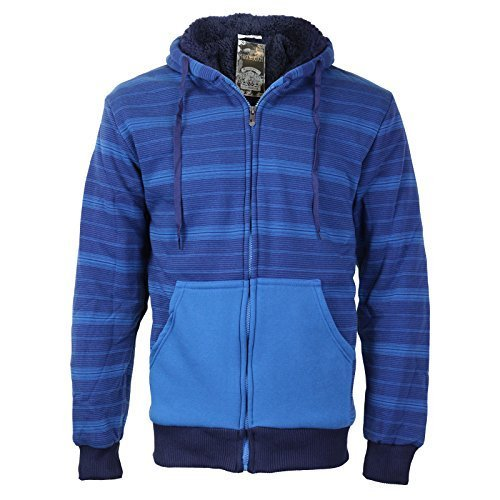 vkwear Men's Two Tone Sherpa Lined Fleece Zip Up Hoodie (2XL, Light Blue/Navy)
