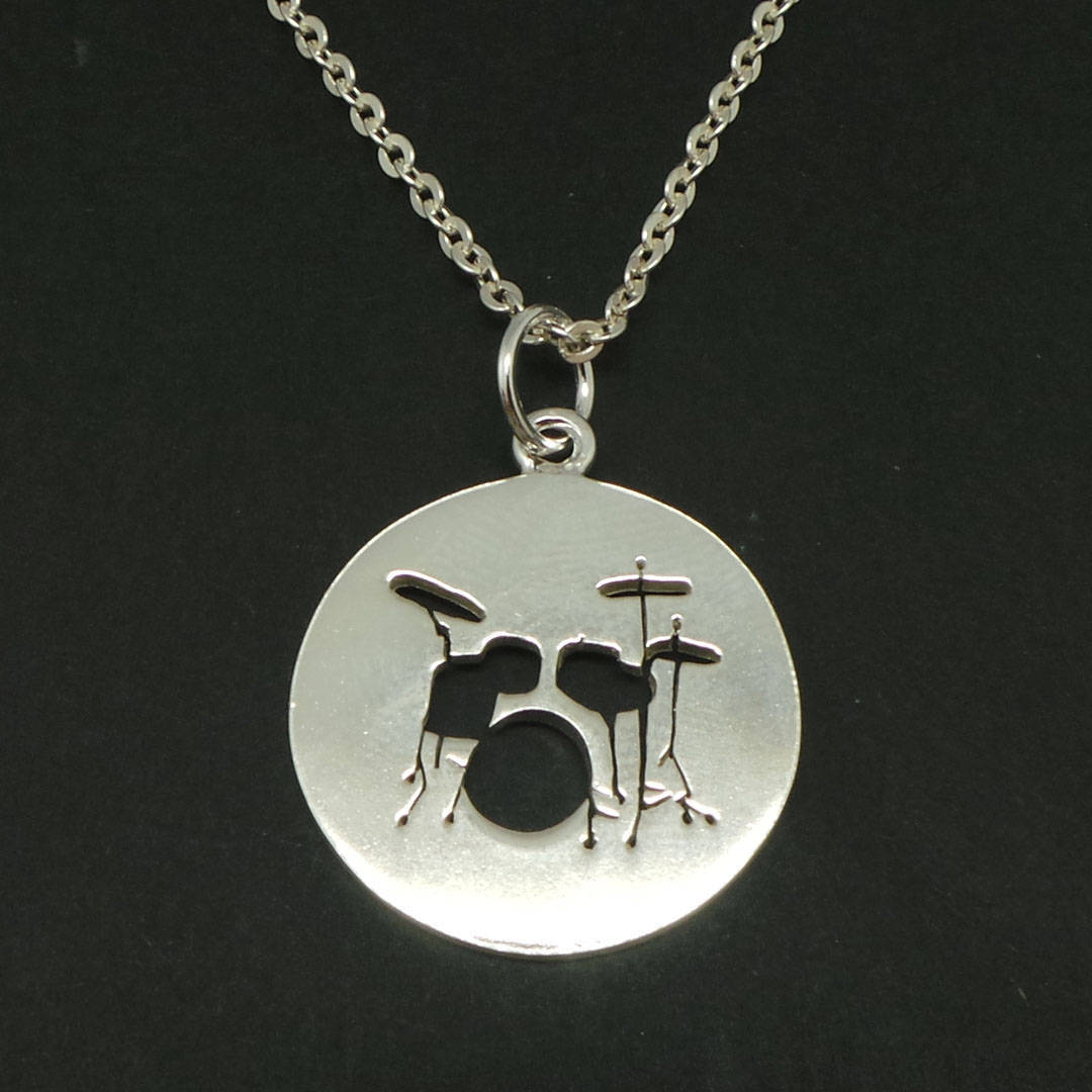 Primary image for Handmade 925 Sterling Silver Music Drum Necklace Pendant for Muscian Gift