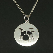 Handmade 925 Sterling Silver Music Drum Necklace Pendant for Muscian Gift - $48.00