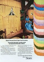 1977 Sears Perma-Press Cape Cod Curtains Print Ad America's Favorite Curtains - $10.70