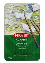 Derwent Academy Watercolor Pencils, 3.3mm Core, Metal Tin, 12 Count (230... - $5.93