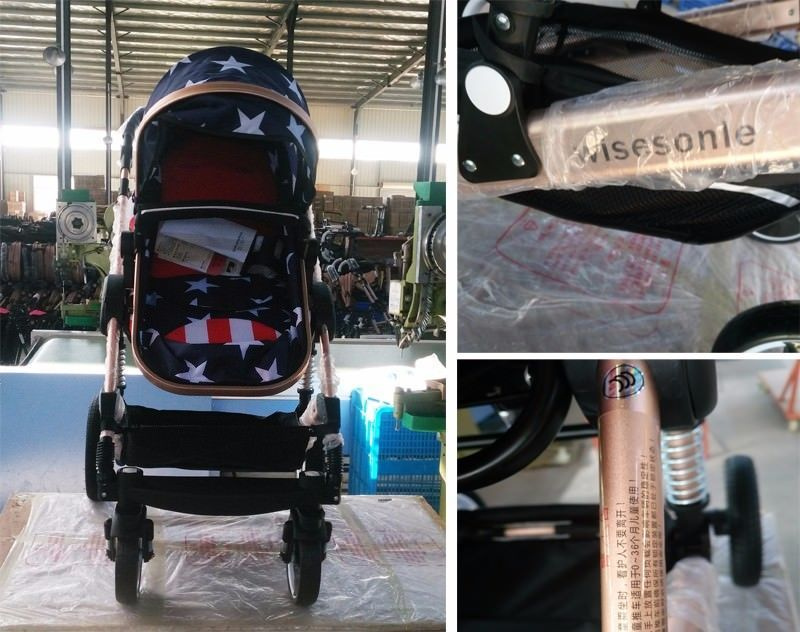 Luxury Baby Stroller 2 in 1 High-Landscape Pram Portable Folding baby Carriage