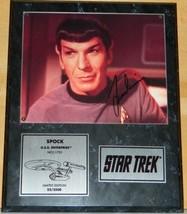 Star Trek Classic Leonard Nimoy as Mr. Spock Ltd Num Autographed Photo Plaqued - $290.24