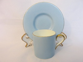 Antique Wedgwood Bone China Demitasse Cup & Saucer, Powder Blue - Early ... - $15.99