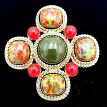 Sarah Coventry Maltese Cross Marbled Gold Brooch Pin - $31.68