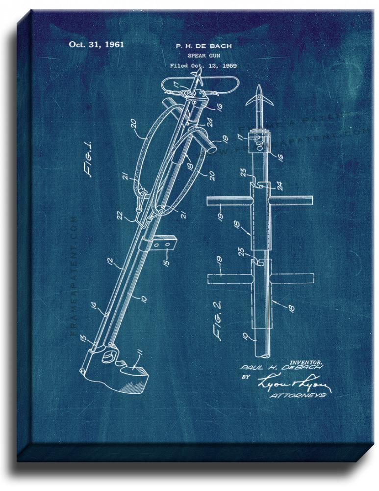 Primary image for Spear Gun Patent Print Midnight Blue on Canvas