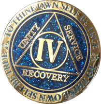 4 Year AA Medallion Reflex Glitter Blue Gold Plated Sobriety Chip Coin O... - $19.99