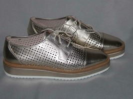Nine West VERWIN Gold Leather Metallic Platform Perforated Oxford Wm's Shoes NEW - $69.99