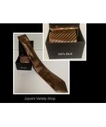 Gold Stripe 100% Silk Tie Cuff-links Pocket Square Set - $9.99