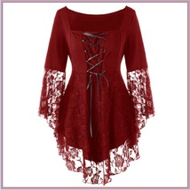 Wine Plus Size Gothic Lace Up Front Flare Sleeves Irregular Extended Lace Hem