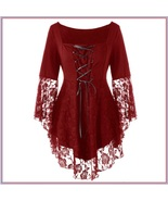 Wine Plus Size Gothic Lace Up Front Flare Sleeves Irregular Extended Lac... - $84.95