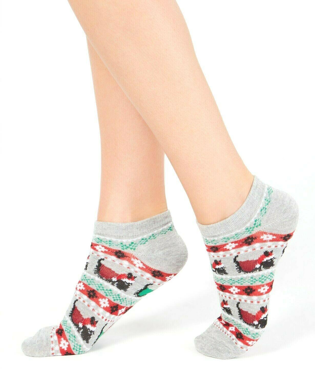 Charter Club Women's Gray Black Scottie Dog Santa Christmas Hat Low-Cut Socks