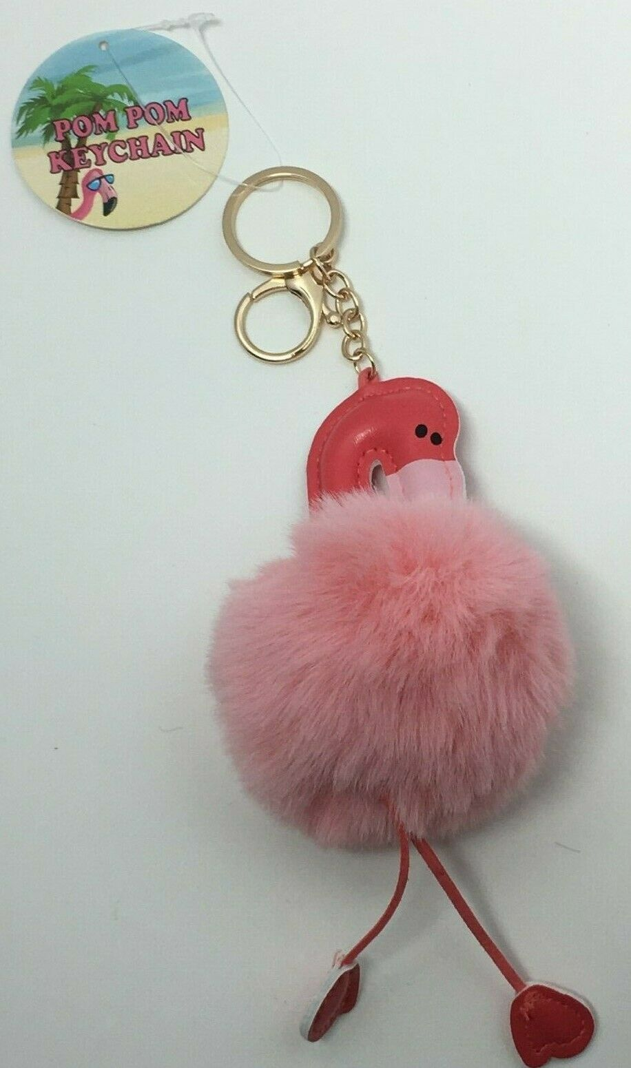 Primary image for Royal Deluxe Accessories Pink Pom Pom Flamingo Keychain, Free Shipping
