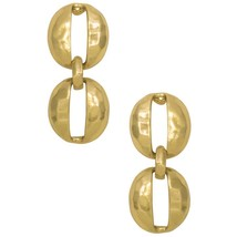 Karine Sultan Oval Shell Cut-Out Pendant Earrings Silver-Plate or 24k Go... - $23.95