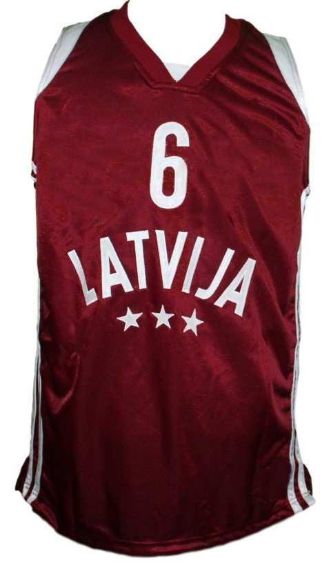 Kristaps Porzingis Team Latvija Basketball Jersey New Sewn Maroon Any Size