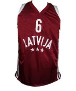 Kristaps Porzingis Team Latvia Basketball Jersey New Sewn Maroon Any Size - $44.99+