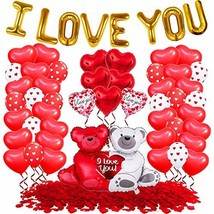 I Love You Balloons with Red Heart Balloons Set - 1000 Red Rose Petals for - $24.64