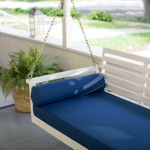 """White Coastal Cottage Wood 65"""" Porch Swing With Blue Cushions Outdoor Furniture image 4"""