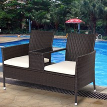 Outdoor Patio Rattan Cushioned Chat Set - £166.59 GBP