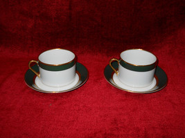 Fitz & Floyd RENAISSANCE dark green set of 2 cups and saucers - $14.80