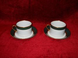 Fitz & Floyd RENAISSANCE dark green set of 2 cups and saucers - $14.80