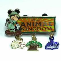 Walt Disney world Pin trading badge pinback Mickey Mouse Animal Kingdom dangle - $39.59