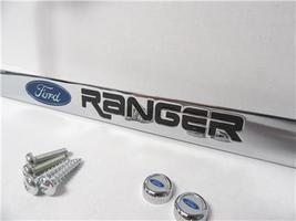 83-21 Ford Ranger Chrome License Plate Frame Black Lettering w/ Logo Screw Caps - $19.99