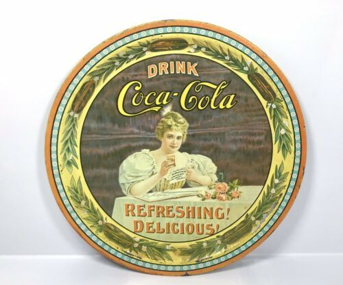 "Primary image for Vintage 1976 Coca Cola 75th Anniversary Tin Tray 12"" - Hilda Clark No. 53377 KY"