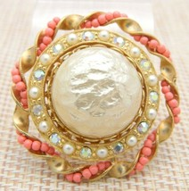 Faux Pearl Rhinestone Pink Seed Bead Large Gold Tone Vintage Pin Brooch - $29.69