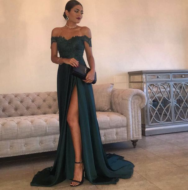 Applique Long Prom Dress off the Shoulder Formal Dress High Slit Evening Dress