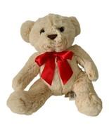 Dan Dee Tan Teddy Bear Plush Red Bow Stuffed Animal Toy - $13.85