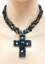 Black Glass Beads AB Rhinestone Cross Pendant Necklace Earrings Goth, Punk - $17.11
