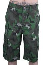 LRG Men's Olive Wolf Camouflage Unnatural Palette Cargo Walk Shorts 28