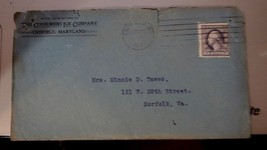 1918 Crisfield Envelope and Letterhead Consumers Ice Company Tawes Letter - $14.00