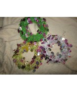 EASTER 3 WREATHS green yellow lavender w/silver & color eggs  (Easter bx) - $7.70