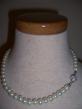 Vintage Faux Pearl Classic Necklace W/ Pave Round Ball Clasp - $9.99