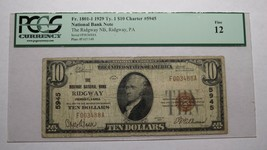 $10 1929 Ridgway Pennsylvania PA National Currency Bank Note Bill Ch. #5... - $215.04