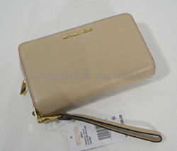 NWT Michael Kors Adele Large Flat Phone Leather Wallet/Wristlet in Oyster - £117.16 GBP