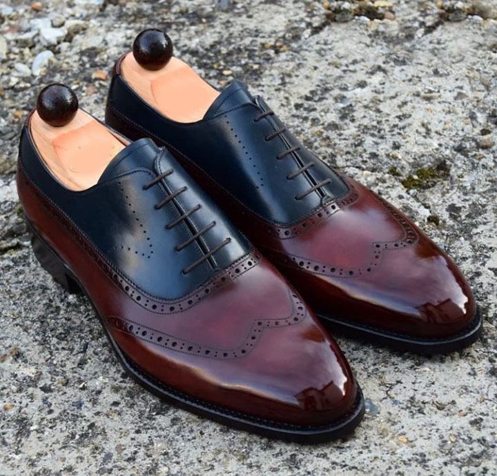 Handmade Men's Burgundy and Blue Leather Wing Tip Lace Up Oxford Shoes