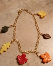 Festive Fall Leaves Charm Bracelet Clay Leaves Holiday Thanksgiving Charm  - $6.50