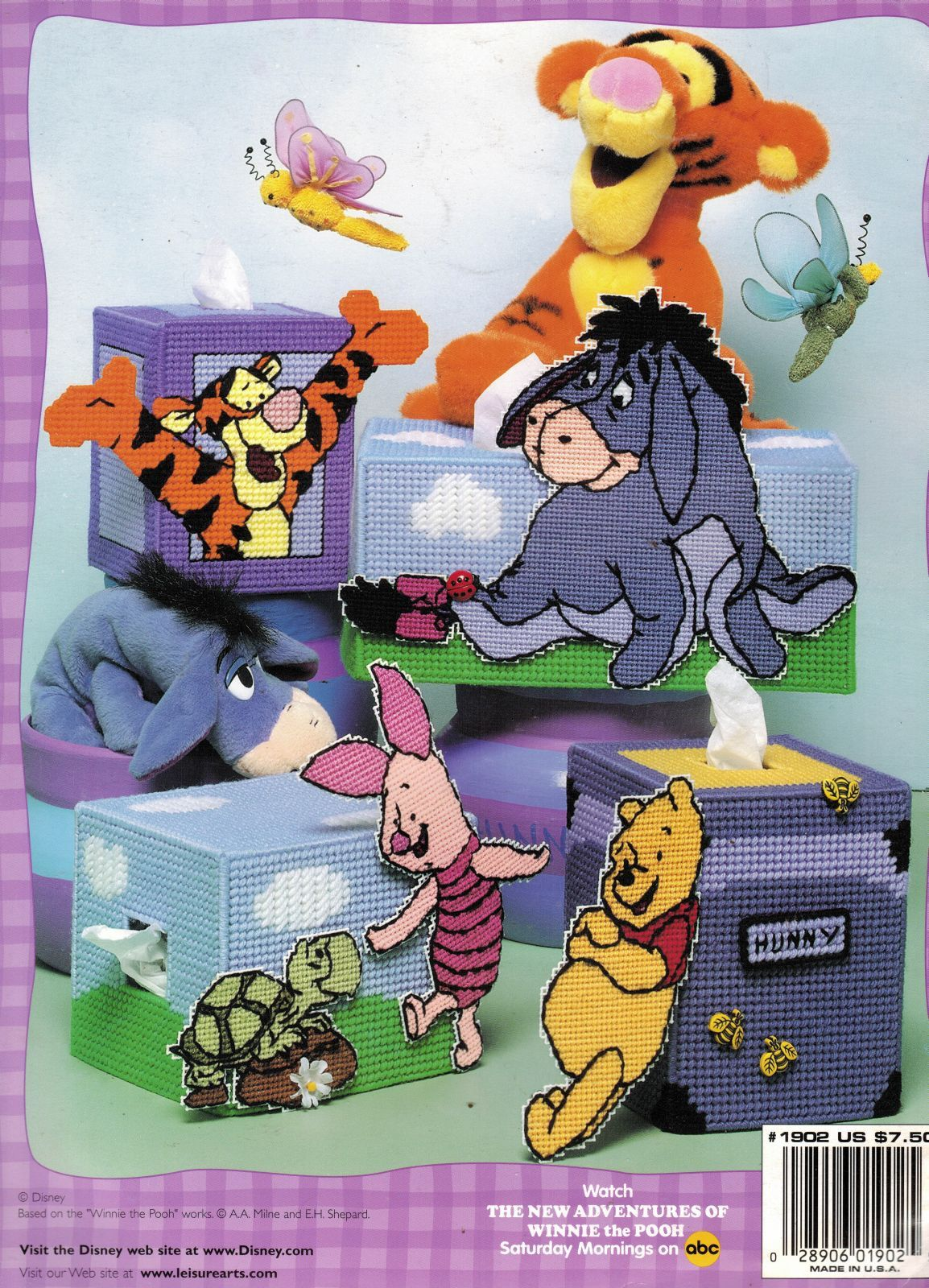 Primary image for Plastic Canvas Winnie The Pooh Tigger Eeyore Piglet Tissue Box Cover Patterns