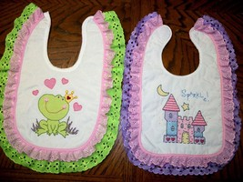 "Bibs Handcrafted  XStitched - Decorated & Backed ""FROG PRINCESS"" matches... - $39.99"