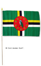 """12x18 12""""x18"""" Dominica Country Stick Flag 30"""" wood staff - $18.00"""
